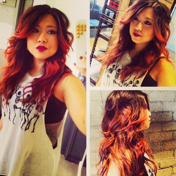 Stylist @stizzyho flaunts her red tips by @oncolourground